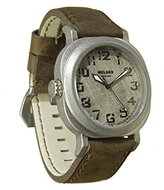 Welder Men's Quartz Watch with White Dial Analogue Display and Brown Leather Strap K19-500