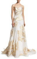 Rubin Singer Sweetheart-Neck Pleated-Bodice Gown, White/Gold