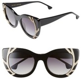 Alice + Olivia Women's Delancey Crystal 50Mm Cat Eye Sunglasses - Black