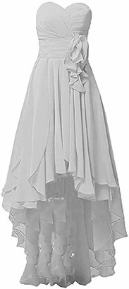 YULUOSHA Women's Sweetheart Prom Homecoming Dress High Low Bridesmaid Dresses Chiffon A Line Beach Wedding Evening Gowns Ivory