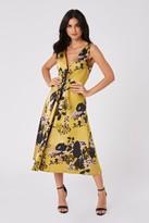 Little Mistress Robin Yellow Floral Jacquard Midi Skater Dress