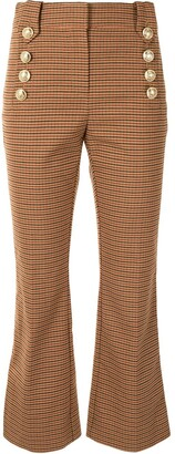 Derek Lam 10 Crosby Check Buttoned Kick-Flare Trousers