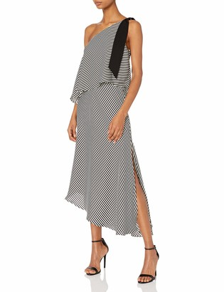 Halston Women's One Shoulder Mini Stripe Flowy Dress Black Print