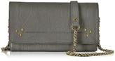 Jerome Dreyfuss Jack Gray Leather Wallet Clutch w/Shoulder Strap