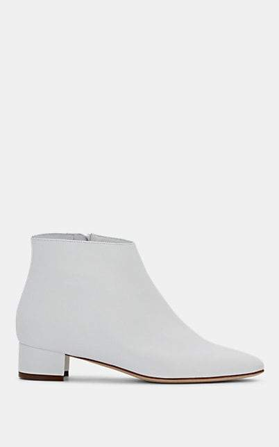 Manolo Blahnik Women's Crik Leather Ankle Boots - White Leather