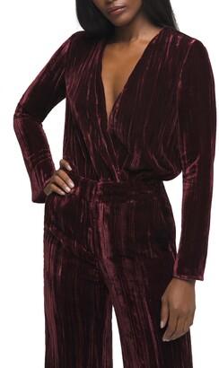 Good American Velvet Long Sleeve Wrap Bodysuit