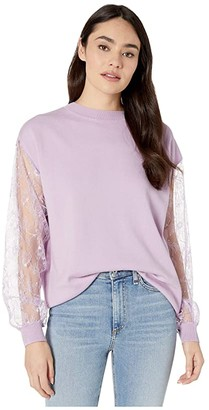 Adam Lippes Lace Sleeve Sweater (Lavender) Women's Clothing