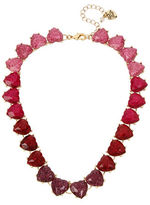 Betsey Johnson Ombre Glitter Heart Stone Pave Collar Necklace