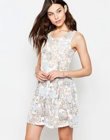 Yumi Skater Dress In Burnout Floral Print