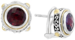 Effy Balissima by Garnet Round Stud Earrings (7-5/8 ct. t.w.) in 18k Gold and Sterling Silver