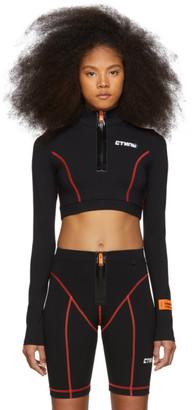 Heron Preston Black Cropped Style Active Zip Turtleneck