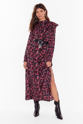Nasty Gal Womens Floral We Grow High Neck Maxi Dress - Black - 4