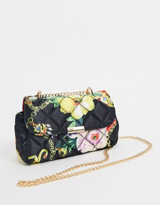 ASOS DESIGN quilted cross body bag with shoulder strap in chain print