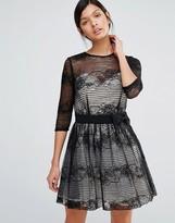 Little Mistress Long Sleeve Belted Lace Dress