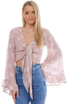 Reverse New Women's Womens Amy Bell Sleeve Blouse V-Neck Pink