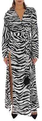 ATTICO Zebra Printed Slit Dress