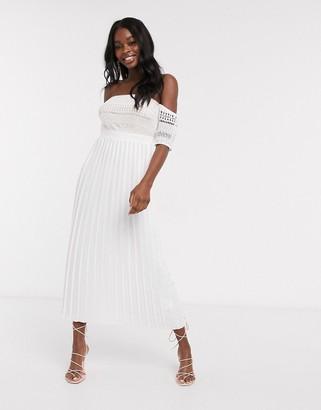 Little Mistress pleat lace midaxi dress in white