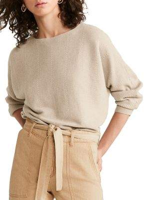 MANGO Ribbed Dolman-Sleeve Sweater