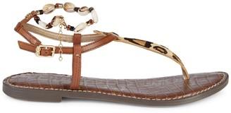 Sam Edelman Geena Leopard Calf Hair & Leather Thong Sandals