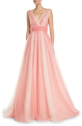 Carolina Herrera V-Neck Belted Ombre-Tulle A-Line Gown