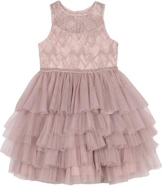 Badgley Mischka Beaded Tulle Party Dress