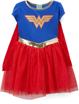 Jerry Leigh Wonder Woman Blue & Red Emblem Dress - Kids
