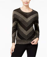 NY Collection Petite Metallic Chevron-Print Sweater