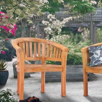 Chic Teak Peanut Teak Wood Indoor/ Outdoor Dining Arm Chair