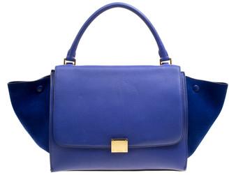 Celine Blue Leather and Suede Medium Trapeze Bag