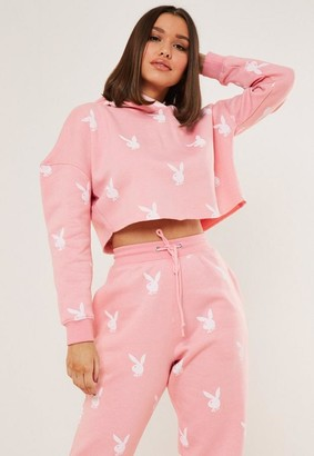 Missguided Playboy X Pink Bunny Repeat Print Cropped Hoodie