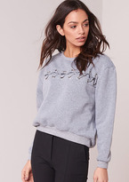 Missy Empire Mischa Grey Lace Up Front Detail Sweatshirt