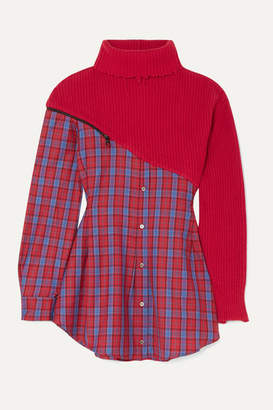 Unravel Project Checked Wool-twill And Ribbed Wool And Cashmere-blend Mini Dress - Red