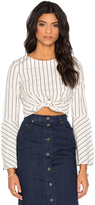 Nicholas Stripe Tie Front Long Sleeve Top