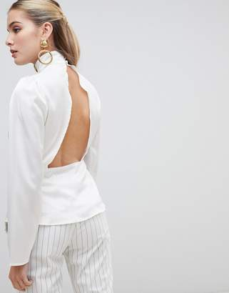 Fashion Union high neck blouse with open back-Cream
