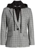Kenneth Cole New York Women's Menswear Removable Hood Plaid Blazer