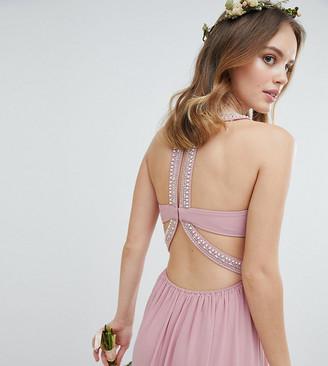 TFNC Petite Embellished Back Detail Maxi Bridesmaid Dress