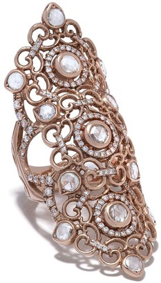 Loree Rodkin 14kt Rose Gold Long Finger Flower Lace Diamond Pave Ring
