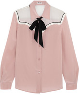 Miu Miu Pussy-bow Chiffon-paneled Silk Crepe De Chine Blouse - Blush