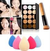 ABC Makeup Brush Sets, 15 Colors Makeup Concealer Contour Palette + Water Sponge Puff + Makeup Brush