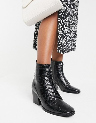 Glamorous lace up heeled ankle boots with square toe in black croc