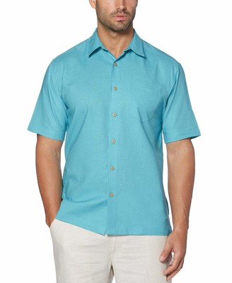 Cubavera Linen-Cotton Solid One Pocket Shirt