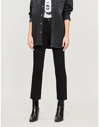Paige Denim Women's Black Shadow Jacqueline Straight High-Rise Jeans, Size: 23