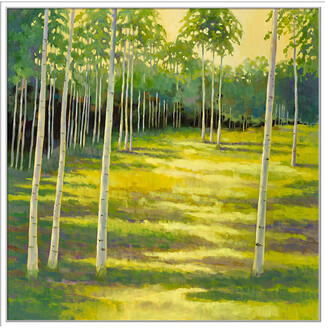 Jonathan Bass Studio Sunlit Meadow, Decorative Framed Hand Embellished Canvas