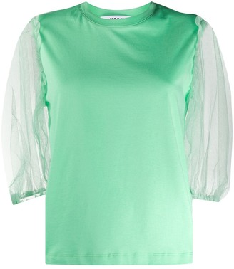 MSGM tulle-sleeved T-shirt