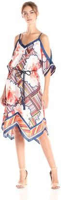 Rachel Roy Women's Scarf Print Cold Shoulder Dress with Tie Waist