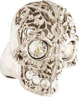 Alexander McQueen Filigree Skull Crystal Ring