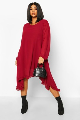 boohoo Plus Ruffle Dip Hem Longsleeve Smock Dress