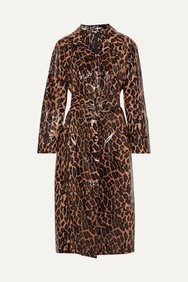 Miu Miu Belted Leopard-print Glossed-pu Cotton Trench Coat - Brown