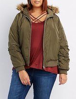 Charlotte Russe Plus Size Faux Fur-Trim Hooded Bomber Jacket