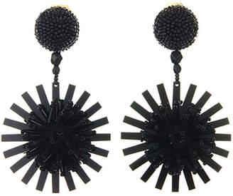 Oscar de la Renta Pompom Flower Beaded Earrings